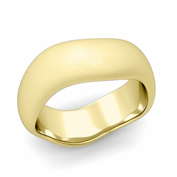 Curved Satin Finish Wedding Ring in 18k Gold Comfort Fit Band, 8mm