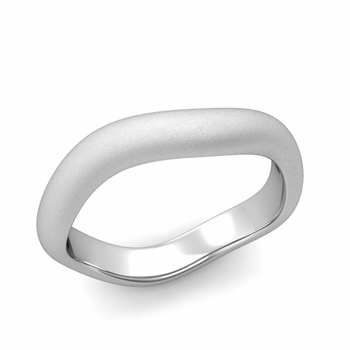 Curved Satin Finish Wedding Ring in Platinum Comfort Fit Band, 4mm