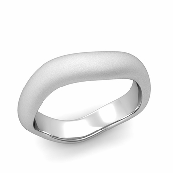 Curved Satin Finish Wedding Ring in Platinum Comfort Fit Band, 5mm