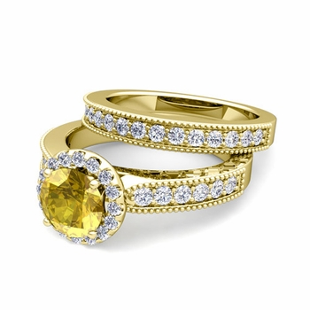 Halo Bridal Set: Milgrain Diamond and Yellow Sapphire Wedding Ring Set in 18k Gold, 6mm