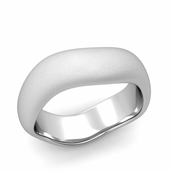 Curved Satin Finish Wedding Ring in Platinum Comfort Fit Band, 7mm