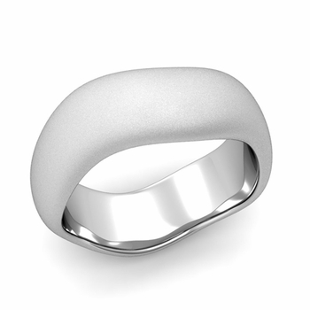 Curved Satin Finish Wedding Ring in Platinum Comfort Fit Band, 8mm