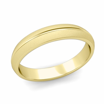 Carved Comfort Fit Wedding Ring in 18K Gold Matte Satin Band, 4mm