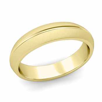 Carved Comfort Fit Wedding Ring in 18K Gold Matte Satin Band, 5mm