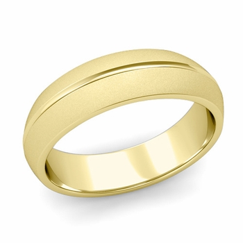 Carved Comfort Fit Wedding Ring in 18K Gold Matte Satin Band, 6mm