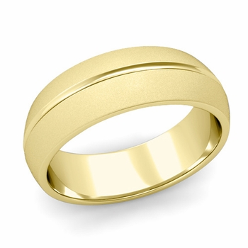 Carved Comfort Fit Wedding Ring in 18K Gold Matte Satin Band, 7mm
