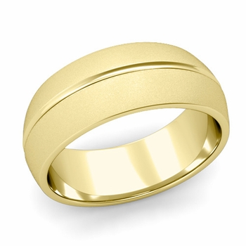 Carved Comfort Fit Wedding Ring in 18K Gold Matte Satin Band, 8mm