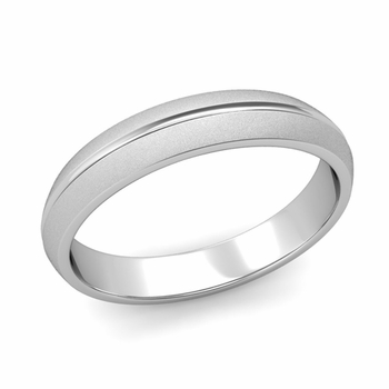 Carved Comfort Fit Wedding Ring in Platinum Matte Satin Band, 4mm