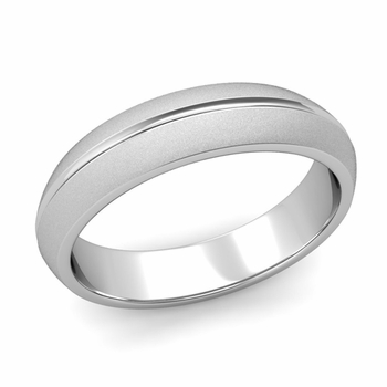 Carved Comfort Fit Wedding Ring in Platinum Matte Satin Band, 5mm