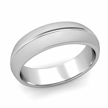 Carved Comfort Fit Wedding Ring in Platinum Matte Satin Band, 6mm