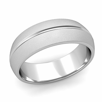 Carved Comfort Fit Wedding Ring in Platinum Matte Satin Band, 7mm