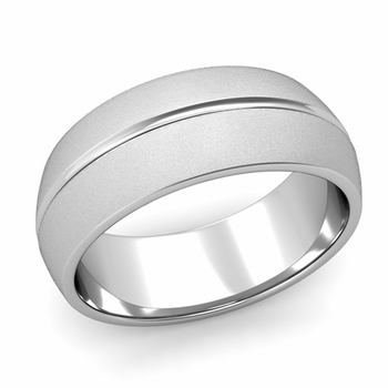 Carved Comfort Fit Wedding Ring in Platinum Matte Satin Band, 8mm
