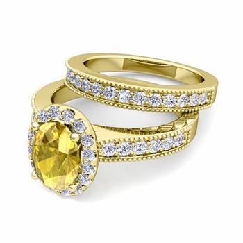 Halo Bridal Set: Milgrain Diamond and Yellow Sapphire Wedding Ring Set in 18k Gold, 7x5mm