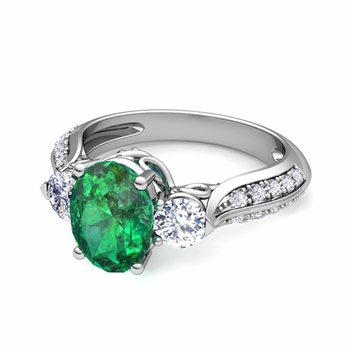 Vintage Inspired Diamond and Emerald Three Stone Ring in Platinum, 9x7mm
