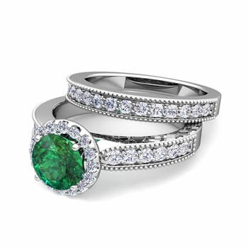 Halo Bridal Set: Milgrain Diamond and Emerald Engagement Wedding Ring Set in 14k Gold, 7mm