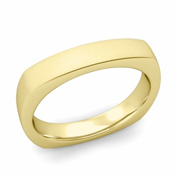 Square Comfort Fit Wedding Ring in 18K Gold Matte Satin Band, 4mm