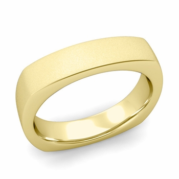 Square Comfort Fit Wedding Ring in 18K Gold Matte Satin Band, 5mm