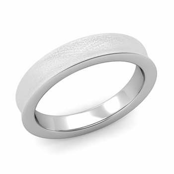Contour Wedding Band in 14k Gold Mixed Brushed Comfort Fit Ring, 4mm
