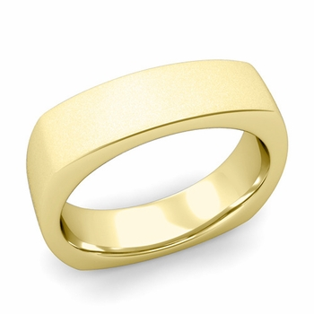 Square Comfort Fit Wedding Ring in 18K Gold Matte Satin Band, 6mm