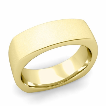 Square Comfort Fit Wedding Ring in 18K Gold Matte Satin Band, 7mm
