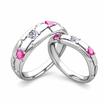 Matching Wedding Band: His and Hers Diamond Pink Sapphire Ring in 14k Gold