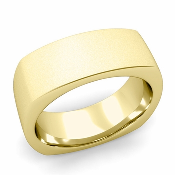 Square Comfort Fit Wedding Ring in 18K Gold Matte Satin Band, 8mm