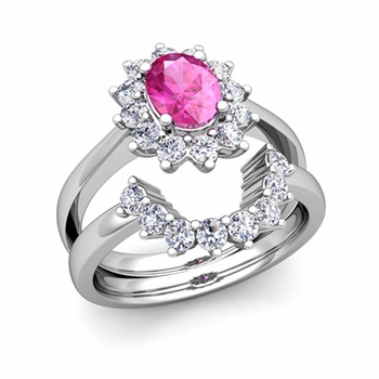 Diamond and Pink Sapphire Diana Engagement Ring Bridal Set in 14k Gold, 9x7mm