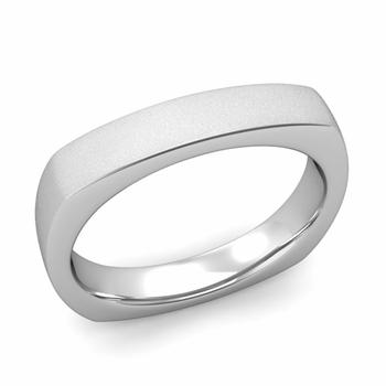 Square Comfort Fit Wedding Ring in Platinum Matte Satin Band, 4mm