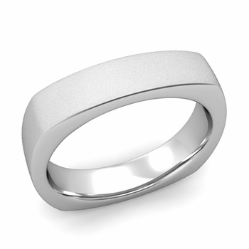 Square Comfort Fit Wedding Ring in Platinum Matte Satin Band, 5mm
