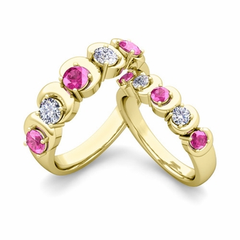 His and Hers Matching Wedding Band in 18k Gold 5 Stone Diamond and Pink Sapphire Ring