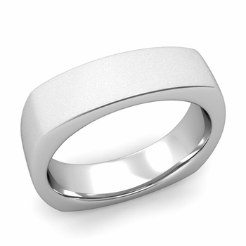 Square Comfort Fit Wedding Ring in Platinum Matte Satin Band, 6mm