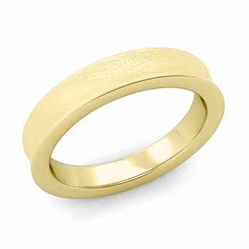Contour Wedding Band in 18k Gold Mixed Brushed Comfort Fit Ring, 4mm