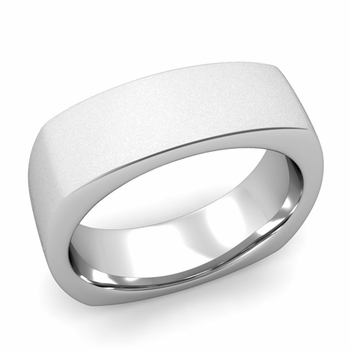 Square Comfort Fit Wedding Ring in Platinum Matte Satin Band, 7mm