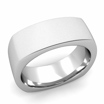 Square Comfort Fit Wedding Ring in Platinum Matte Satin Band, 8mm