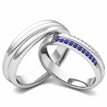 Matching Wedding Band in Platinum Pave Diamond and Sapphire Ring