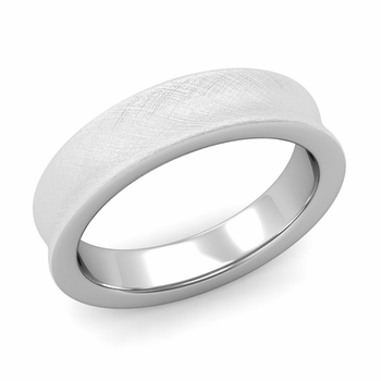 Contour Wedding Band in 14k Gold Mixed Brushed Comfort Fit Ring, 5mm