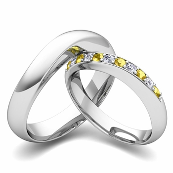 Matching Wedding Band in Platinum Curved Diamond and Yellow Sapphire Ring