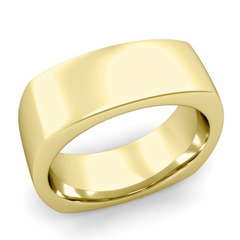 Square Comfort Fit Wedding Ring in 18K Gold Polished Band, 8mm