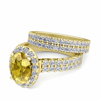 Two Row Diamond and Yellow Sapphire Engagement Ring Bridal Set in 18k Gold, 9x7mm