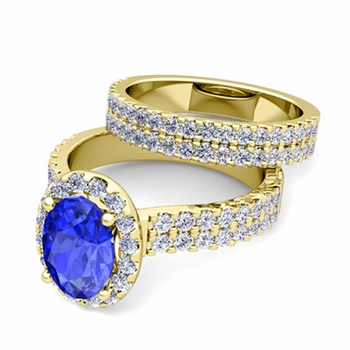 Two Row Diamond and Ceylon Sapphire Engagement Ring Bridal Set in 18k Gold, 7x5mm
