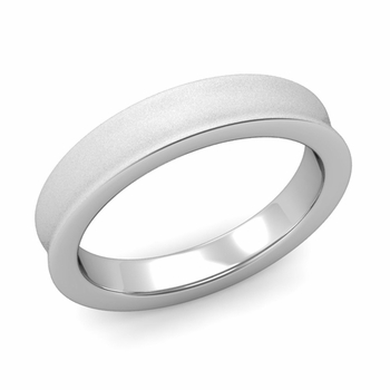Contour Wedding Band in 14k Gold Matte Finish Comfort Fit Ring, 4mm