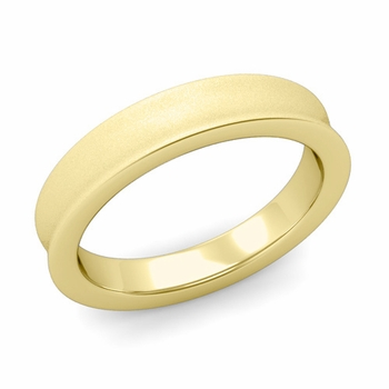 Contour Wedding Band in 18k Gold Matte Finish Comfort Fit Ring, 4mm