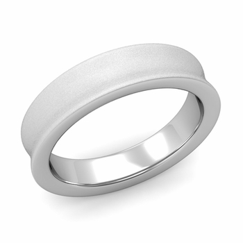 Contour Wedding Band in 14k Gold Matte Finish Comfort Fit Ring, 5mm