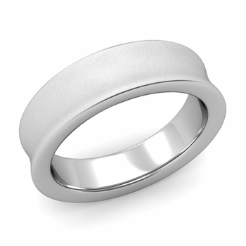 Contour Wedding Band in 14k Gold Matte Finish Comfort Fit Ring, 6mm