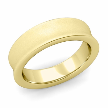 Contour Wedding Band in 18k Gold Matte Finish Comfort Fit Ring, 6mm
