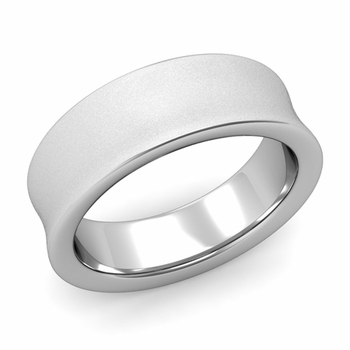 Contour Wedding Band in 14k Gold Matte Finish Comfort Fit Ring, 7mm