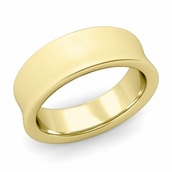 Contour Wedding Band in 18k Gold Matte Finish Comfort Fit Ring, 7mm