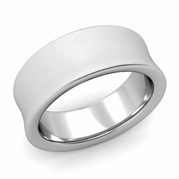 Contour Wedding Band in 14k Gold Matte Finish Comfort Fit Ring, 8mm
