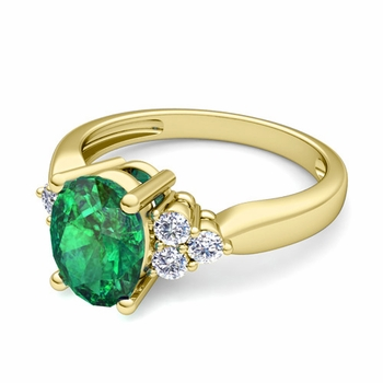 Three Stone Diamond and Emerald Engagement Ring in 18k Gold, 9x7mm