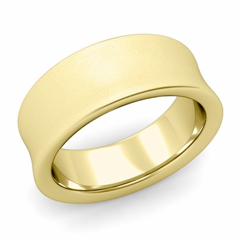 Contour Wedding Band in 18k Gold Matte Finish Comfort Fit Ring, 8mm